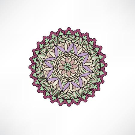 paper sculpture: Abstract floral decorative element. Geometric ornament. Oriental ethnic mandala with Islam, Arabic, Indian, ottoman motif.