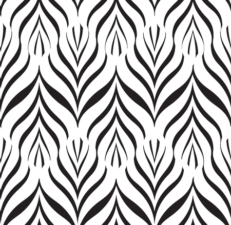 modular rhythm: Floral line black seamless pattern. Geometric classical antique ornament. Ornamental stylish background. Stripped tile texture Illustration