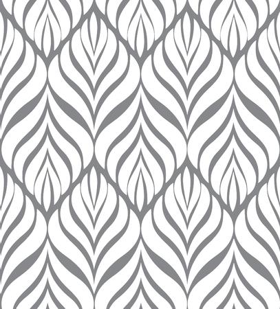 modular rhythm: Abstract floral seamless pattern. Geometric line black ornament.