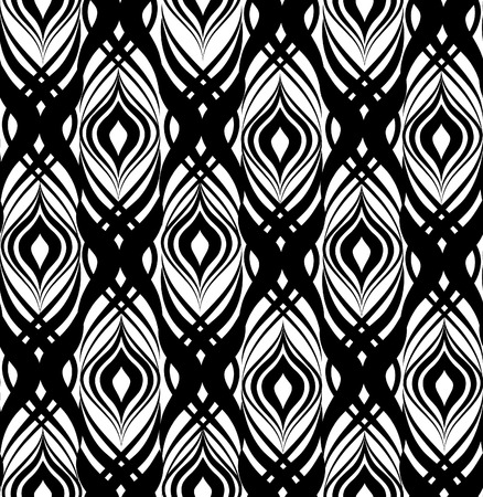 trickery: Abstract floral seamless pattern. Geometric line black ornament.