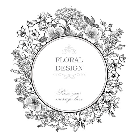 floral vintage: Floral frame with summer flowers. Illustration