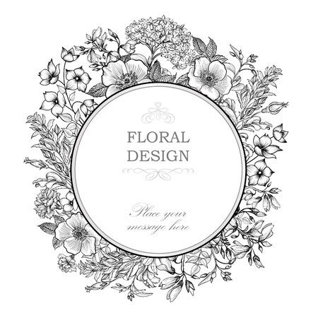 vintage floral frame: Floral frame with summer flowers. Illustration