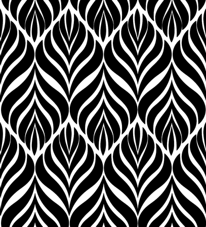 modular rhythm: Abstract floral seamless pattern. Geometric line black ornament. Ornamental stylish background. Abstract stripe tile texture