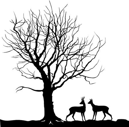 Tier über Baum Waldlandschaft mit Hirsch. Zusammenfassung Vektor-Illustration von Winterwald. Vektor-Illustration Silhouette der schönen Familie Hirsch und Baum Standard-Bild - 49944753