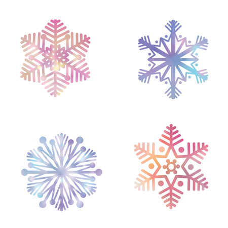 colection: Snowflakes set. Snow icon festve colection Winter holiday symbols isolated Illustration
