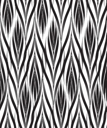 Abstract seamless pattern avec ligne ornement noir et blanc Swirl doodle géométrique texture. Ornement floral fond effet optique.