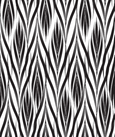 Abstract seamless pattern with black and white line ornament Swirl geometric doodle texture. Ornamental floral optical effect background.
