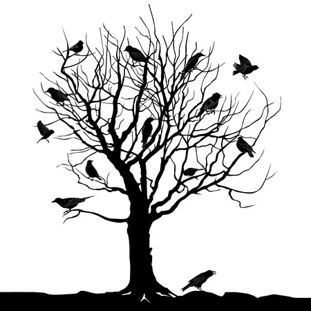 Winter tree with birds on twig vector silhouette illustration Çizim