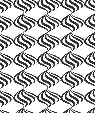 swill: Abstract seamless pattern with black and white line ornament Swirl geometric doodle texture. Ornamental wave optical effect background.