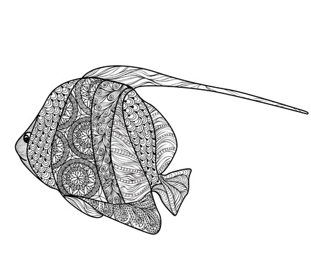 augur: Fish tattoo isolated with ornamental hand drawn pattern.