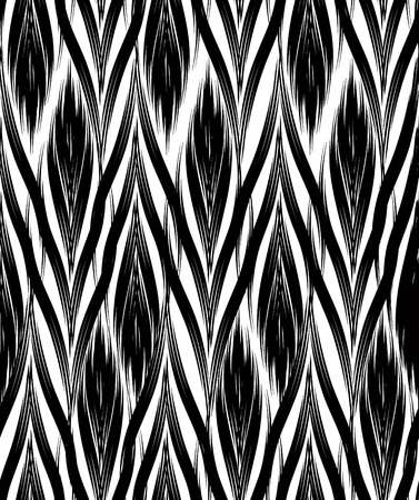 borders abstract: Abstract seamless pattern with black and white line ornament Swirl geometric doodle texture. Ornamental wave optical effect background.