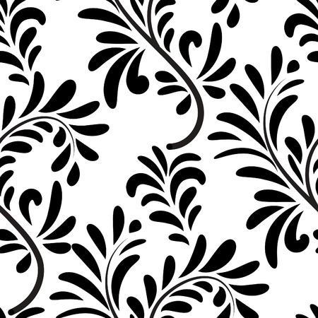 seamless pattern: Abstact vector seamless floral geometric pattern Floral swirl leaves tiled texture Flourish background Illustration