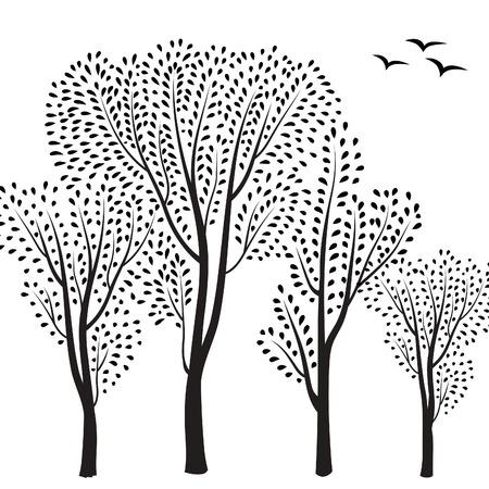 pajaros volando: Hermosa tarjeta con árboles silueta. el fondo del bosque de otoño. Caída tarjeta de hojas y los árboles con el marco floral. Tener una tarjeta de felicitación floral día agradable con la silueta del árbol. ilustración vectorial