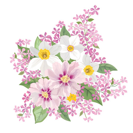 lilac flower: Flower bouquet. Floral frame. Flourish greeting card. Blooming flowers isolated on white background