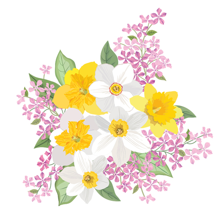 flower blooming: Flower bouquet. Floral frame. Flourish greeting card. Blooming flowers isolated on white background