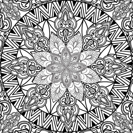tibetan: Abstract floral seamless pattern. Geometric ornament texture. Oriental ethnic line mandala background.