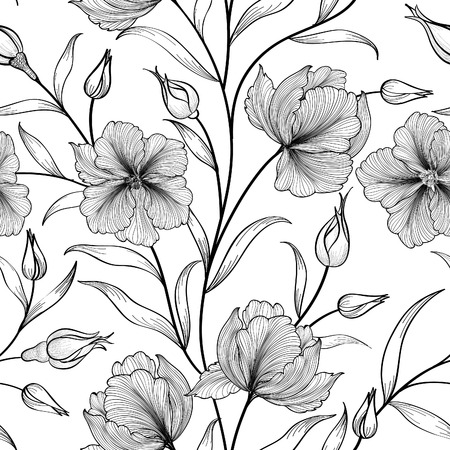 Floral seamless pattern. Flower background. Floral tile ornamental texture with flowers. Spring flourish garden Çizim