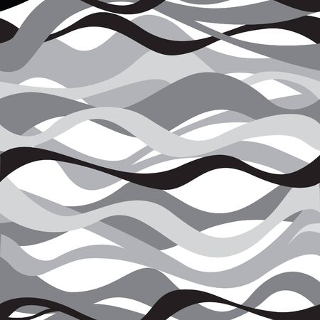 white wave: Wave seamless pattern. Black and white background Illustration