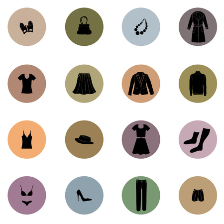 cloths: Cloths icon set. Fashion icons collection. Vector silhouette Illustration