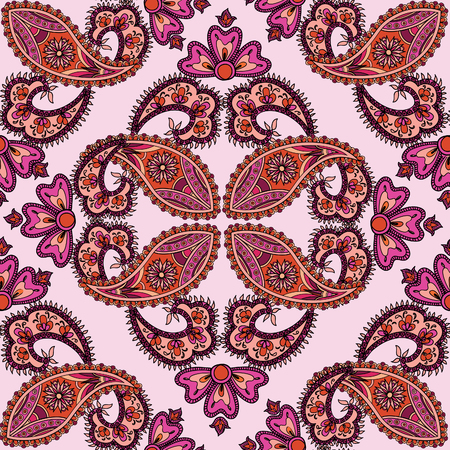 oriental: Flourish tiled pattern. Abstract floral geometric seamless oriental background. Fantastic flowers and leaves. Wonderland motives of the paintings of arabic mamdala. Indian fabric pattern. Illustration