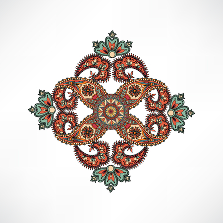 disegni cachemire: Traforo del mandala per il tessile. Arabo ornamento sfondo mandala orientale amuleto etnica Abstact disegno geometrico elemento cerchio geometrico floreale per vacanze, caleidoscopio, medaglione, lo yoga, l'India, stile arabo Vettoriali