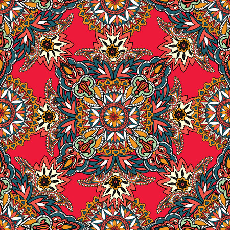 turkish: Flourish tiled pattern. Abstract floral geometric seamless oriental background. Fantastic flowers and leaves. Wonderland motives of the paintings of arabic mamdala. Indian fabric pattern. Illustration