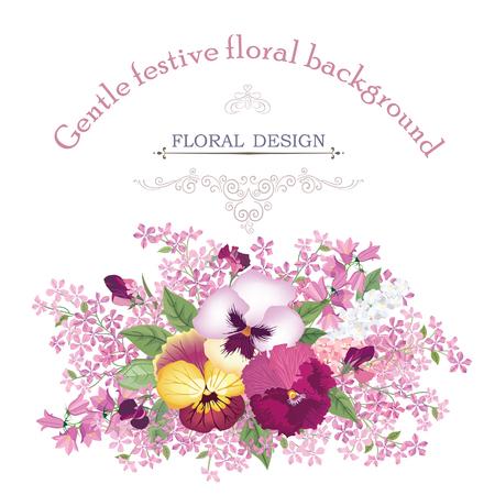 Floral frame avec des fleurs d'été. Bouquet floral de rose, de narcisse, oeillet, de lilas et de fleurs sauvages. Carte de voeux de cru avec des fleurs. Aquarelle fleurir frontière. Floral background.