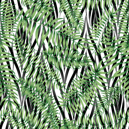tiled: Floral abstract geomtric tiled pattern. Tropical palm leaves seamless background