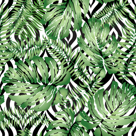 leaf pattern: Floral abstract geomtric tiled pattern. Tropical palm leaves seamless background