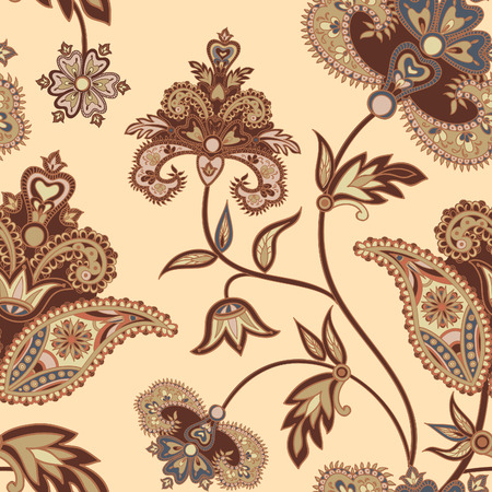 Flourish tiled pattern. Floral retro background. Curved tree branch with fantastic flowers, leaves. Wonderland motives of the paintings of ancient Indian fabric patterns. Illustration