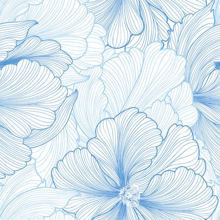 꽃 원활한 배경입니다. 아름다운 모란 꽃 벡터 패턴입니다. 파스텔 색상으로 부드러운 번창 배경. 원활한 패턴 섬유 디자인, 엽서, 캘린더, 웹 사이트  일러스트
