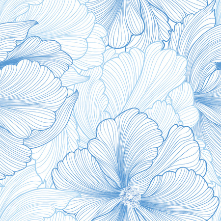 Floral seamless background. Vector pattern with beautiful peony flower. Gentle flourish background with pastel colors. Seamless patterns can be used in textile design, postcards, calendars, websites, wallpapers