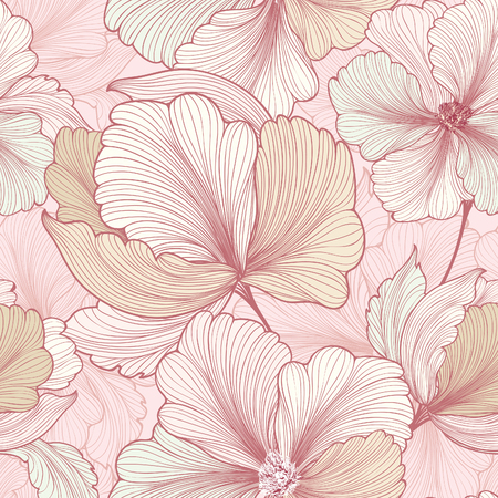 Floral seamless pattern. Flower background. Flourish sketch texture with flowers daisy. Иллюстрация