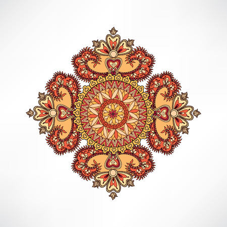 tibetan: Arabic ornament background Oriental ethnic mandala amulet Abstract floral geometric pattern Geometric circle element for holiday, kaleidoscope, medallion, yoga, indian, arabic design Illustration