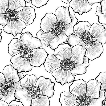 Floral szwu. Kwiat tła. Rozkwitać szkic czarne i białe tekstury z kwiatami daisy.