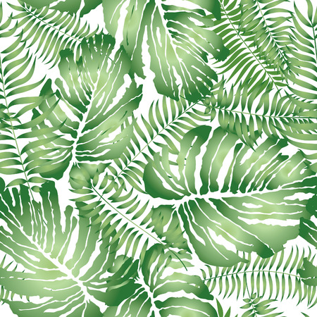 Floral abstract leaf tiled pattern. Tropical palm leaves seamless background Çizim