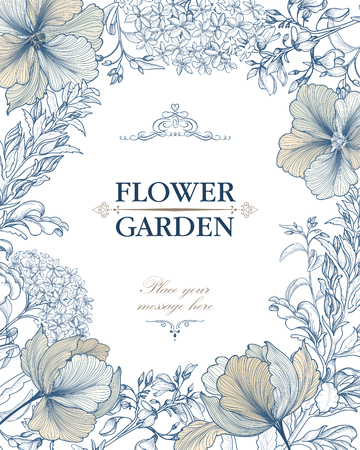 Floral background. Flower bouquet vintage cover. Flourish card with copy space. 일러스트