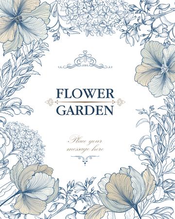 Fondo floral. Ramo de la flor cubierta de la vendimia. Flourish tarjeta con copia espacio.