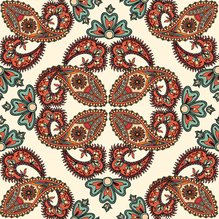 Flourish tiled pattern. Abstract floral geometric seamless oriental background. Fantastic flowers and leaves. Wonderland motives of the paintings of arabic mamdala. Indian fabric pattern. Illustration