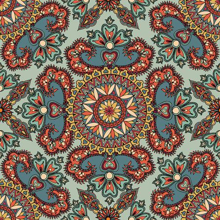 patrones de flores: Florecer modelo tejado. Fondo geométrico floral abstracto sin fisuras oriental. flores y hojas fantástico. País de las maravillas motivos de las pinturas de mamdala árabe. Modelo de la tela de la India.