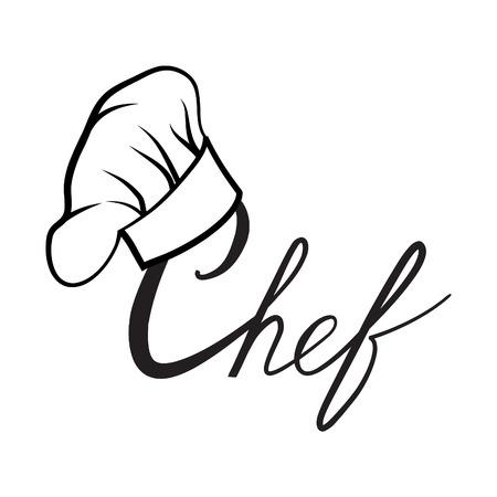 chapeau Cook. Dessiné chapeau Chef cuisinier. Chapeau chef-cuisinière. Vector chapeau noir chef cuire sur un fond blanc