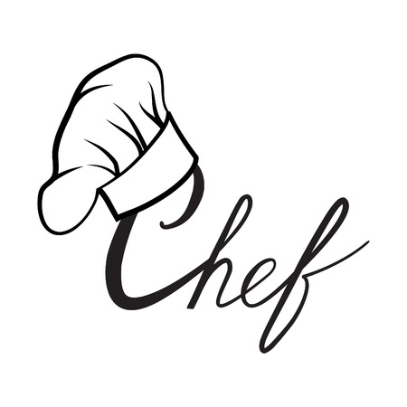 logo design: Cook hat. Drawn hat chef cook. Hat chef-cooker. Vector black hat chef cook on a white background
