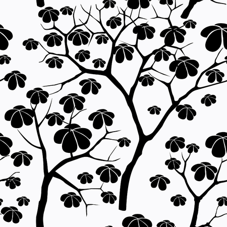 japanese garden: Tree seamless vector pattern. Japanese garden tiled background. Plant seamless texture of the branches on the white background Floral decor Illustration