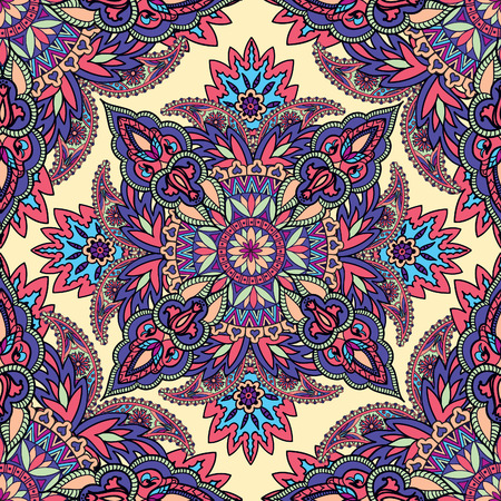 oriental rug: Abstract floral seamless vector vintage oriental background. Flourish ornament with fantastic flowers and leaves. The motives of the paintings of ancient Indian fabrics.
