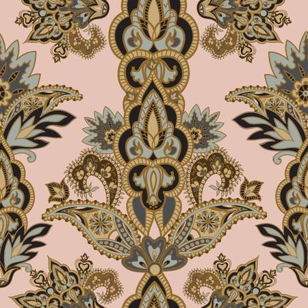 타일 패턴을 번성. 꽃 복고풍 배경입니다. 환상적인 꽃, 잎과 열매 곡선 나뭇 가지. 고대 인도 직물 패턴의 그림의 동기 원더 랜드.