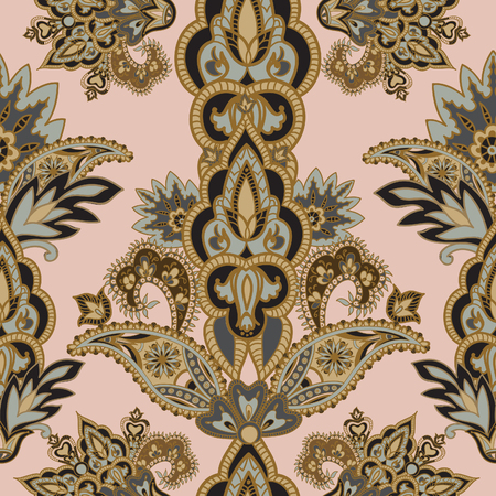 arabesque: Flourish tiled pattern. Floral retro background. Curved tree branch with fantastic flowers, leaves and berries. Wonderland motives of the paintings of ancient Indian fabric patterns. Illustration
