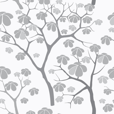 garden plant: Tree seamless vector pattern. Japanese garden tiled background. Plant seamless texture of the branches on the white background Floral decor Illustration