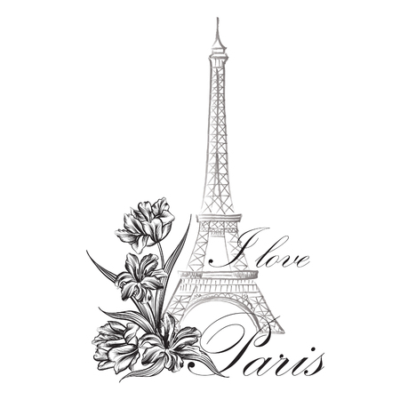white blossom: Floral Paris Illustration Famous Paris landmark Eiffil Tower. Travel France Graphic Design
