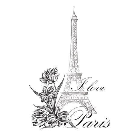 rosas blancas: París floral Ejemplo famoso de París histórica Torre de Eiffil. Viajar Francia Diseño gráfico