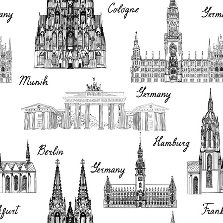 Travel seamlss pattern. Visit Germany background with sketch beer mugs. Famous german buildings and landmarks. Vector illustration Stock Illustratie